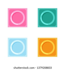 Vector condoms and packages icon. Contraception concept. Sealed condom isolated on white background.