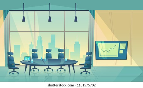 Vector conference hall for business seminar, working process. Room for shareholders in skyscraper, urban view from window. Teamwork space in cartoon space