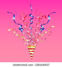 Vector confetti. Festive illustration. Party popper isolated on pink background