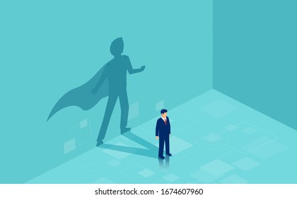 Vector of a confident businessman with a super hero shadow