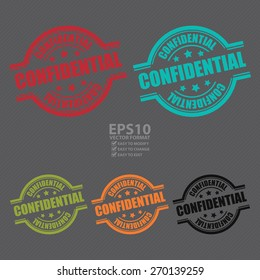 Vector : Confidential Stamp, Badge, Label, Sticker or Icon