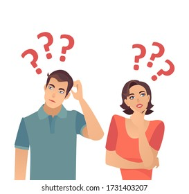 Vector of a confused young couple woman and man thinking having  many questions