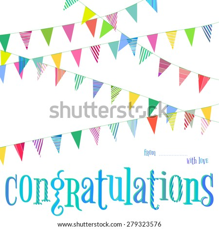 Vector Congratulations Template Card With Garlands And Flags Decoration