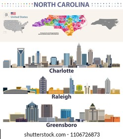 vector congressional districts map and major cities skylines of North Carolina