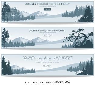 Vector Coniferous Forest design templates
