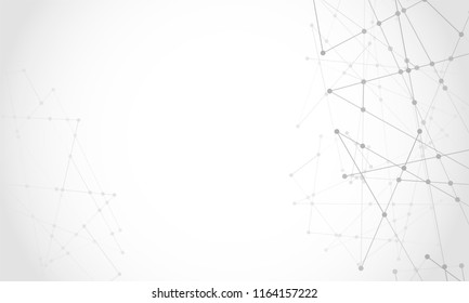 Vector connect lines and dots. Network nodes. Banner template for technology. Connection science and technology background. Molecular, social media, digital structure, connected points.