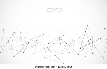Vector connect lines and dots. Network nodes. Banner template for technology. Connection science and technology background. Molecular, social media, digital structure, connected points. - Vector