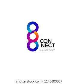 Vector Connect Symbol. Colorful Concept of Connect, Interaction and Cooperation.  Business Creative Logo