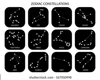Vector. Constellations of the black zodiac signs, constellations, icons of the stars on white background with titles. Glowing lines and points. Star chart, map. Deep space
