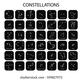 Vector. Constellations of the black zodiac signs, icons of the stars on white background with titles. Glowing lines and points. Star chart, map. Deep space
