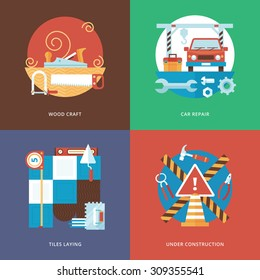 Vector constructing craft, services and decoration set for web design and mobile apps. Illustration for wood craft, car repair, tiles laying and under construction sign.