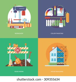 Vector constructing, industry of building and development set for web design and mobile apps. Illustration for metal workshop, color painting, road work and house building.