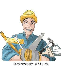 vector construction. The builders of the illustration. Illustration of a happy plumber, mechanic or handyman in work clothes holding tool