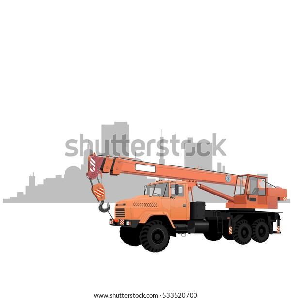 vector construction crane car orange color stock vector (royalty free)  533520700  shutterstock