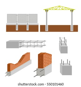 Vector construction elements set. Reinforced concrete foundations.