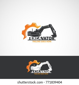 Vector construction excavator and gear, service logo.