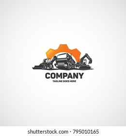 Vector construction heavy machinery, truck with excavators in gear logo.