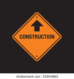 A vector construction road sign on a black background.
