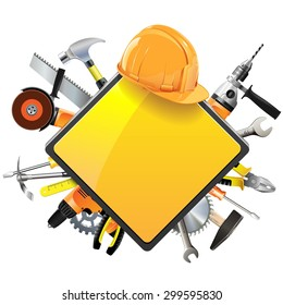 Vector Construction Sign with Tools