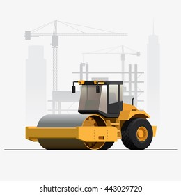 Vector Construction Site Soil Compactor