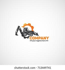 Vector Construction Tractor Excavator and gears.