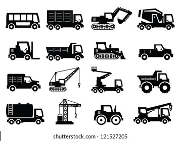 vector construction transport icons set on gray