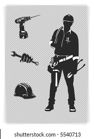 vector construction worker with tools and hardhat
