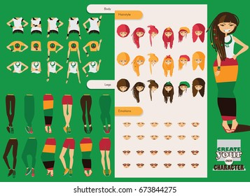 Vector constructor of rastafarian girl character. Spare body parts in various clothes, different emotions set, rasta dreadlocks of different hairstyle. Creation character collection.
