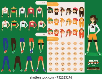 Vector constructor of rastafarian men character. Spare male body parts in various clothes, different emotions set, rasta dreadlocks of different hairstyle. Creation character collection