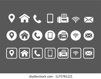 Vector contact information icons white set on black background
