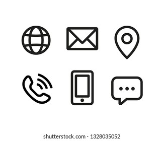 Vector contact, phone, internet communication icon set.
