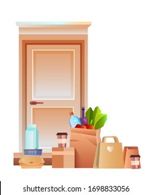 Vector contactless delivery illustration with door, coffee, milk, groceries, box, paper packages with food. Safe delivery of products during COVID-19 quarantine. Flat clipart isolated on white.