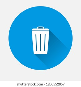 Vector Container recycling of garbage sign icon on blue background. Flat image Trash can with long shadow.  Layers grouped for easy editing illustration. For your design.