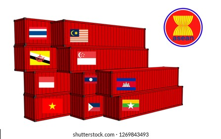 Vector container trade, ten countries in the aec group ASEAN