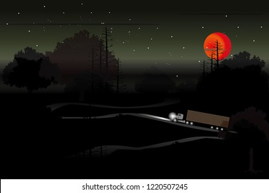 vector container truck driving on the local road on dark forest  and big red moon. holloween background