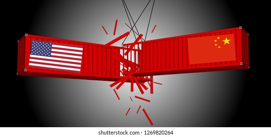 Vector containers, China and the United States, fighting trade in both countries