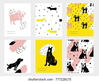 Vector contemporary card set with funny dogs. Hand drawn template with dachshund, pug, bulldog, shepherd, rottweiler for New Year, birthday, business, anniversary, wedding, party invitation, holidays.