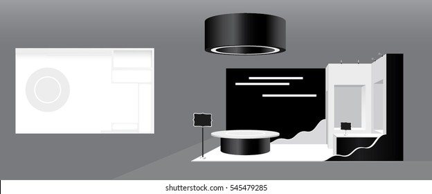 Vector contemporary trade booth template with white plasterboard product showcases and black retro design signs