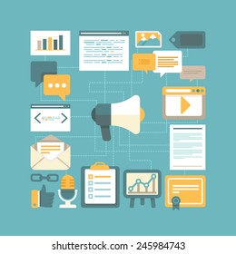 Vector content marketing concept in flat style - working with digital content and advertising