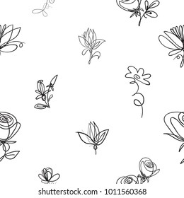 Vector continuos line drawing with roses, petals, daisy flowers, abstract flower. Black simple hand drawn illustration on white background for fabric design. Abstract floral linear seamless pattern.