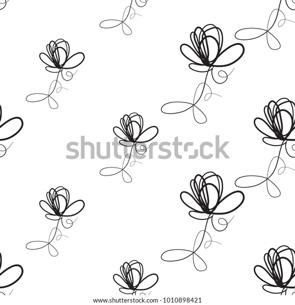 Vector Continuos Line Drawing Simple Flower Stock Vector Royalty Free 1010898421