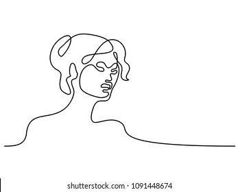 Vector continuous line. Abstract portrait of young woman. Vector illustration. Concept for logo, card, banner, poster, flyer