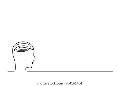 Vector continuous line. Abstract portrait of a thinker. Teacher.