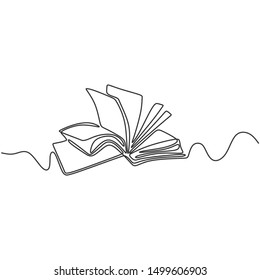 Vector continuous line drawing of book. Educational Idea concept minimalist design.