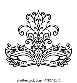 vector, contour, black and white illustration, mask, masquerade, opera, coloring book, theater, feathers, adult coloring book, doodle style