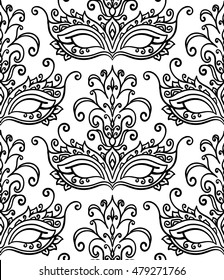 vector, contour, black and white illustration, mask, masquerade, opera, seamless pattern