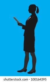 vector contour businesswoman - vector illustration