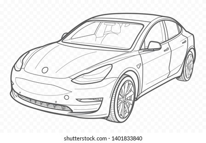 Vector contour car on transparent background. Car outline.