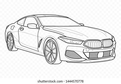 Vector contour car on transparent background. German electrocar outline.Auto.