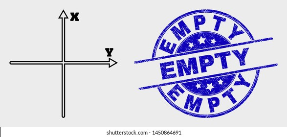 Vector contour Cartesian axes icon and Empty stamp. Blue round grunge stamp with Empty text. Black isolated Cartesian axes icon in contour style.